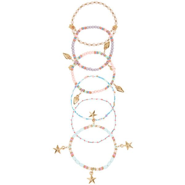 Accessorize Pastel Stretch Bracelets ($12) ❤ liked on Polyvore featuring jewelry, bracelets, accessorize jewelry, pastel jewelry, charm bangle, beaded jewelry and beading jewelry