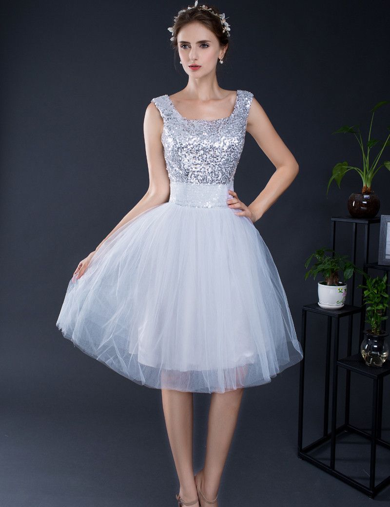 Click to buy ucuc silver prom dresses aline kneelength scoop neck