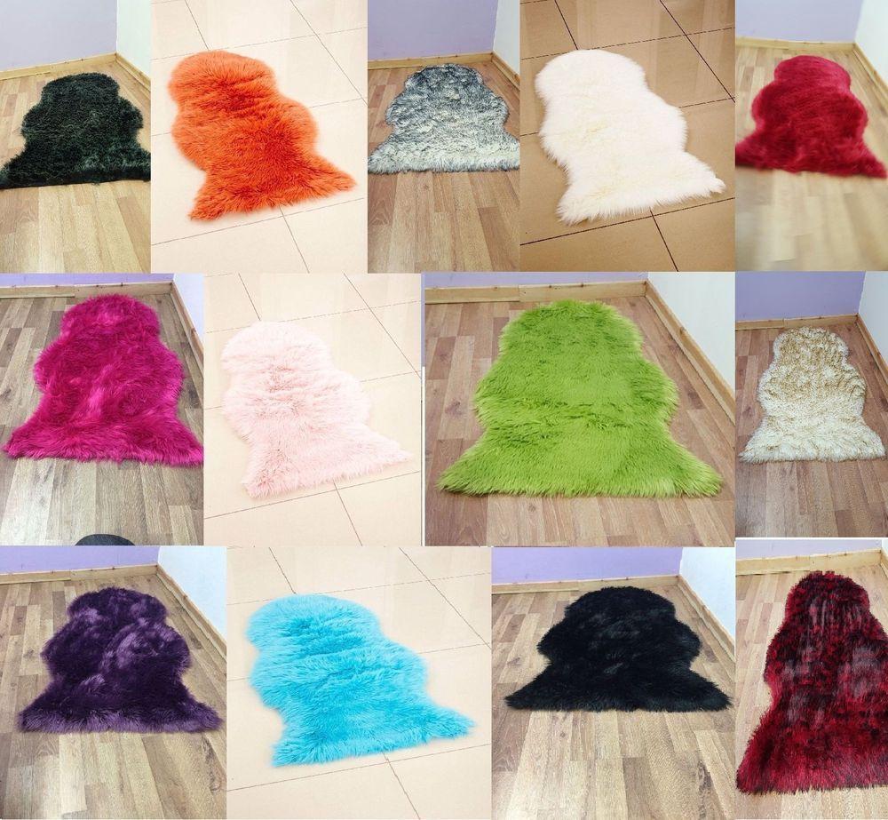 Details About Soft Sheepskin Plain Fluffy Skin Faux Fur