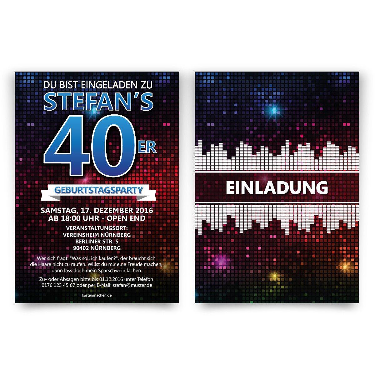 Einladungskarten Geburtstag - Disco #geburtstag #einladung ...