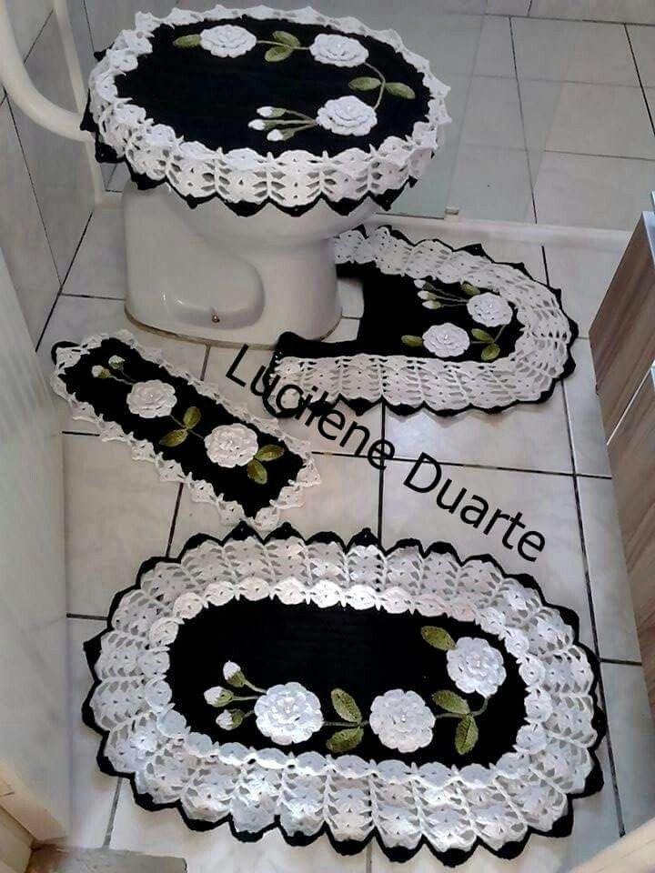 Jogo De Banheiro Croche Pintura Em Tecido Preto E Branco Jogos De Banheiro Croche Jogos De Banheiro Croche Para Banheiro