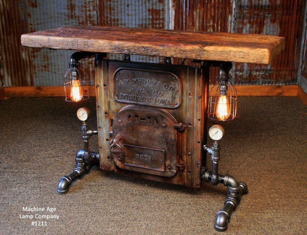 Steampunk Industrial Table Antique Boiler Door Steam Gauge