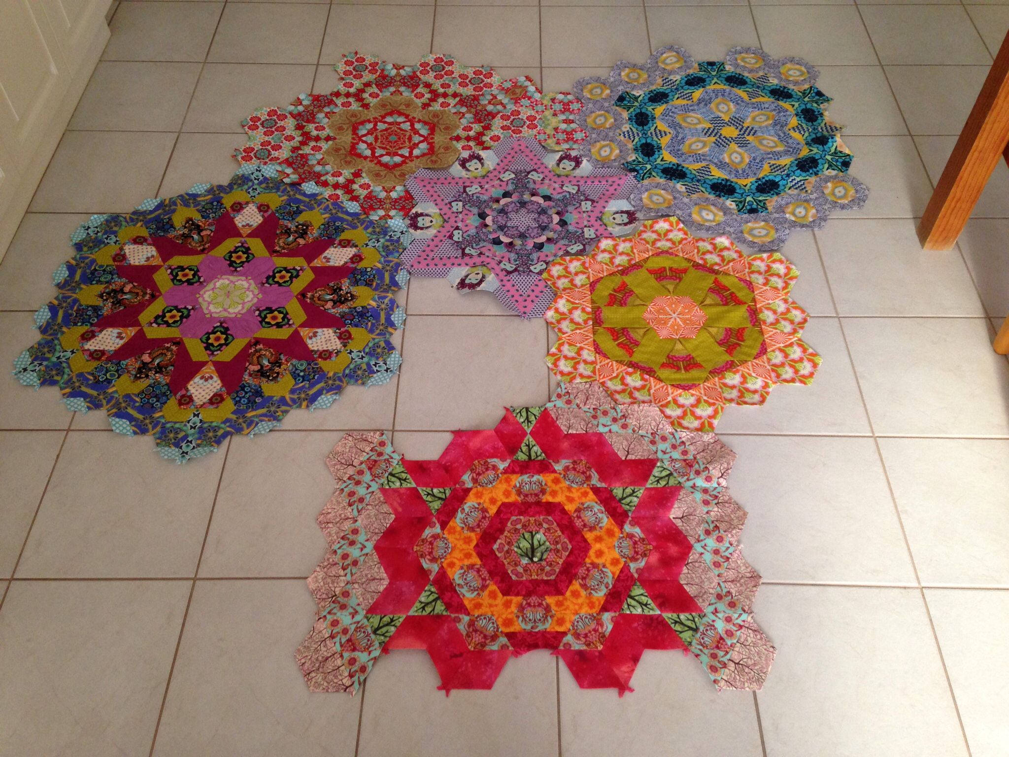 My first six blocks of The New Hexagon Quilt-Along