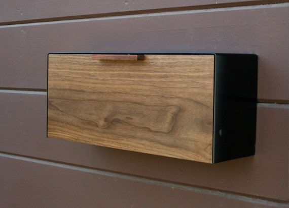 Modern Mailbox Large Cedar And Stainless Steel Mailbox Wall