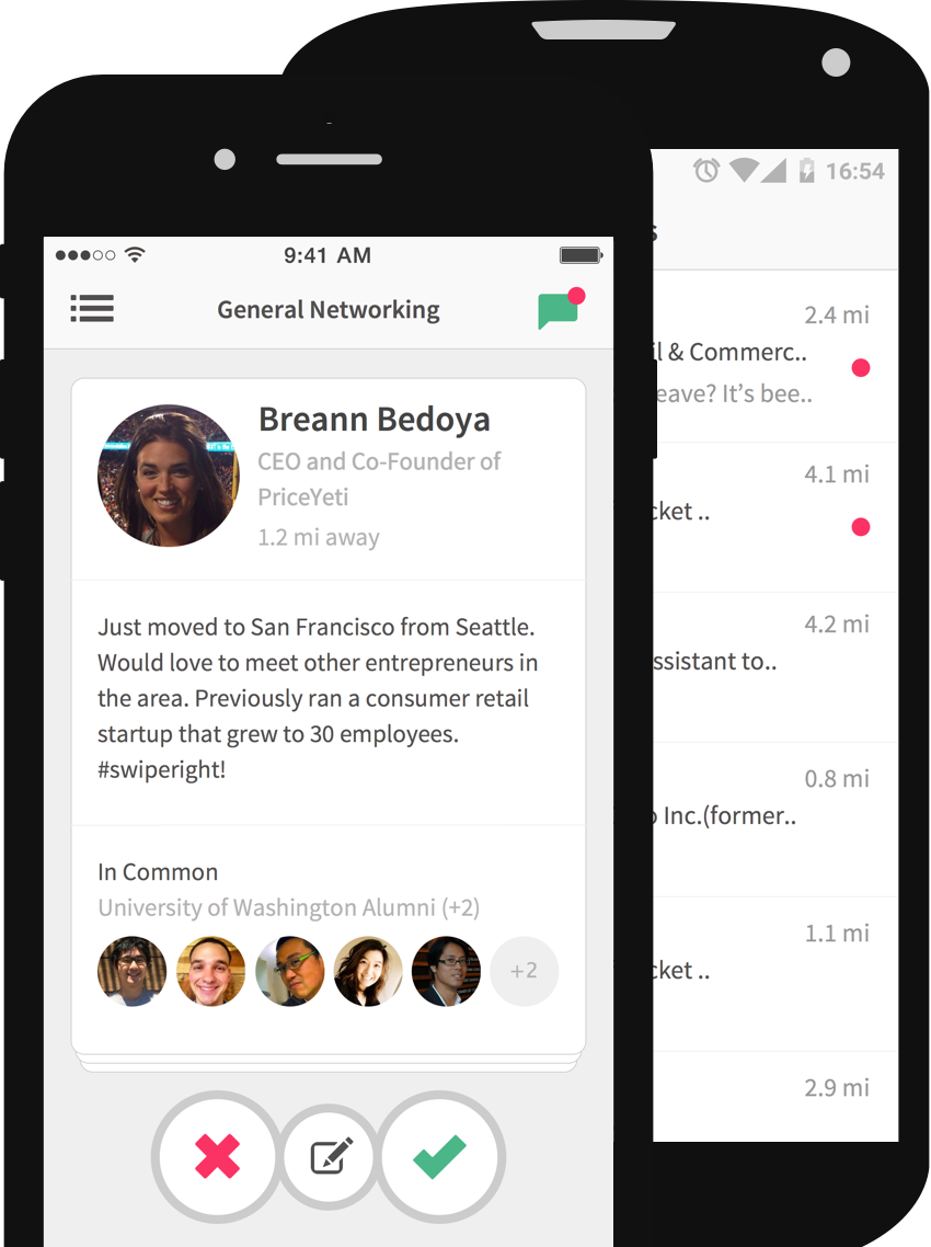 Professional networking app that works on the Tinder swipe