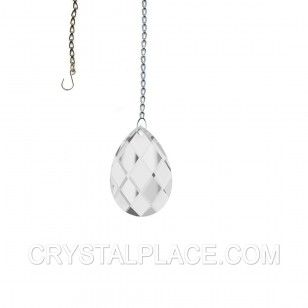 """SunCatcher 2"""" Classic Almond Crystal Prism Made With Spectra Crystal  $9.42"""