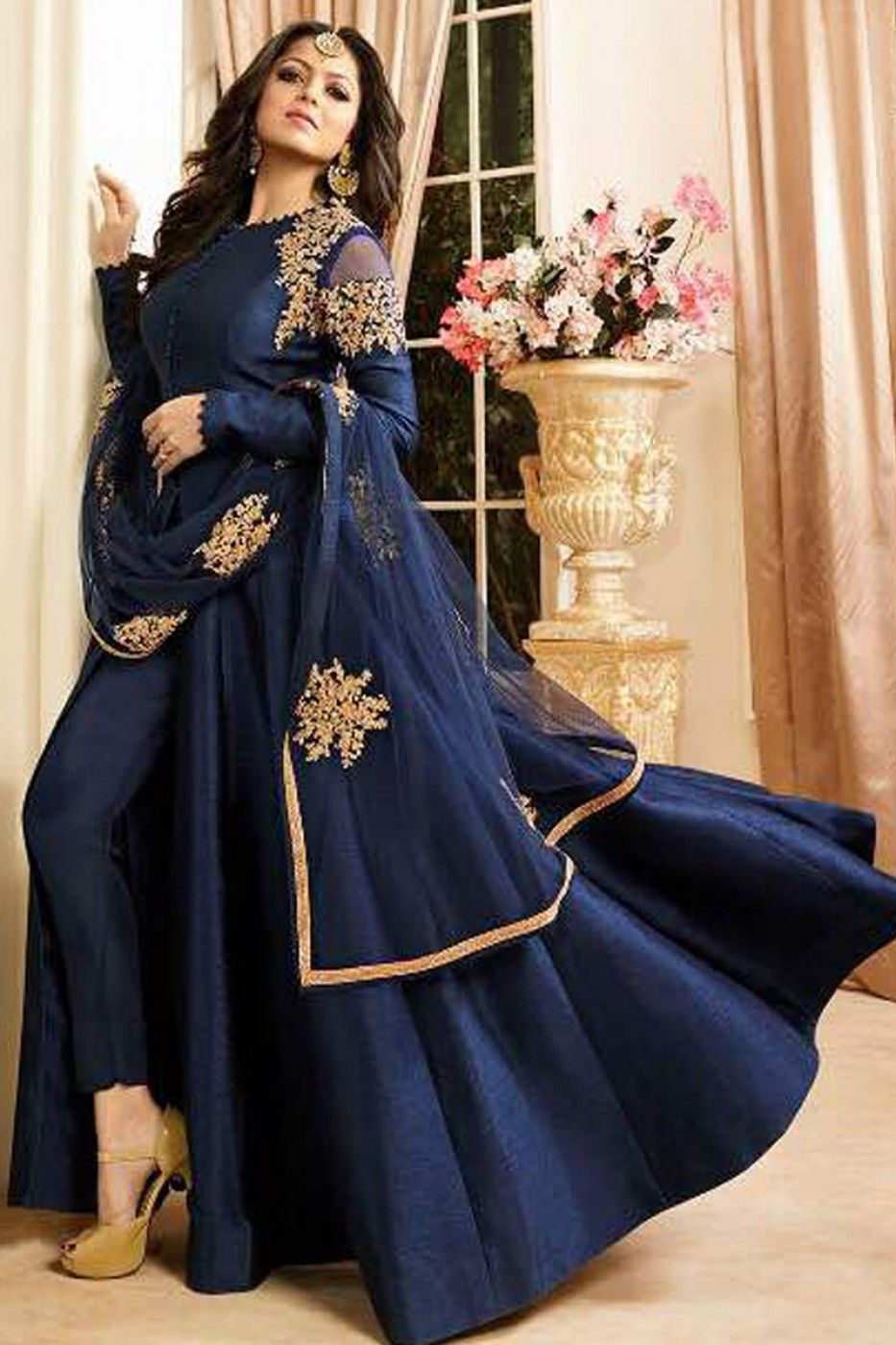 1f6f74a59f Navy Blue Embroidered Silk Fabric Bollywood Designer Traditional Party Wear  Occasionally Straight Cut Pant Style Drashti Dhami Anarkali