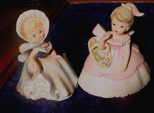 2 Lot Young Girl Pocket Vase, Blue Dress & Pink Napcoware Vintage Napco