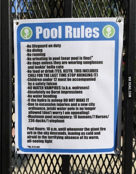 New pool rules at a local swimming pool