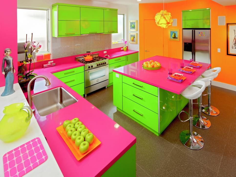 Amazing Green And Orange Kitchen Ideas Part - 7: 30 Colorful Kitchen Design Ideas From