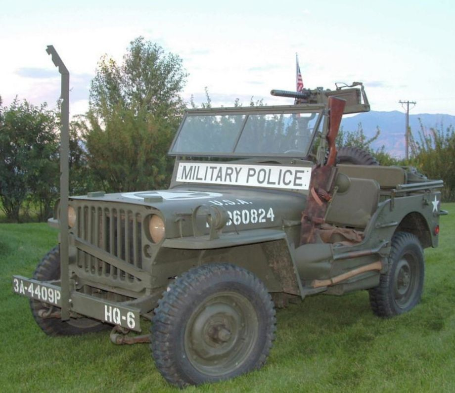 World War II Military Police War Zone Jeep. 30 Caliber