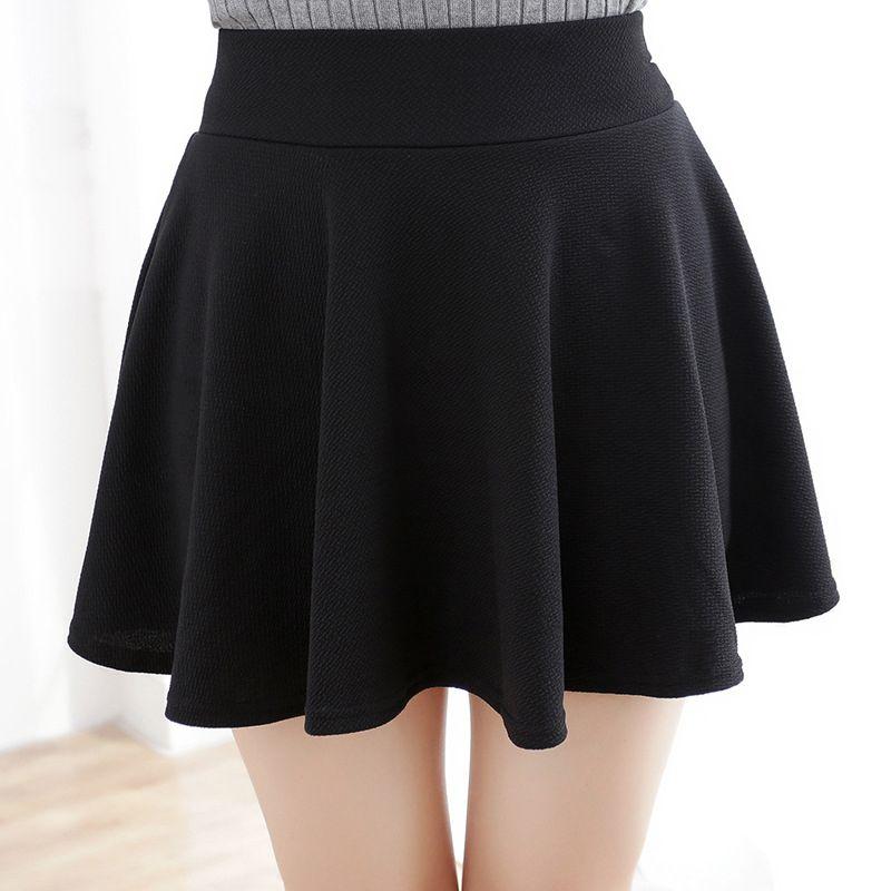 8022e29e19 Moda Mujeres Sexy Falda Negro Más El Tamaño XL Otoño Invierno faldas de Cintura  Alta Falda Plisada de Las Mujeres de Tenis Skater Tutu Corto falda(China ...