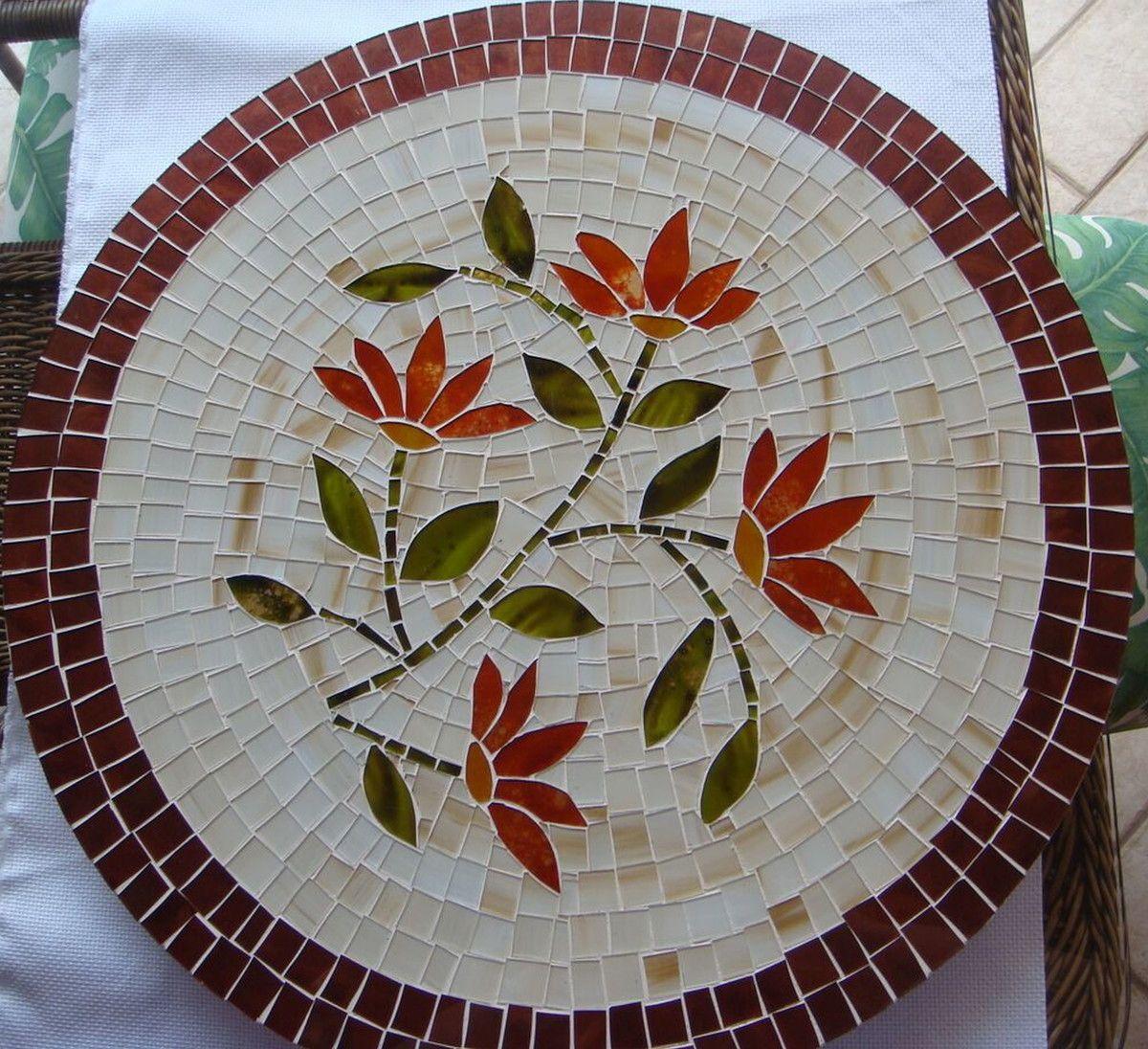 Centro De Mesa Giratorio 60 Cm Mosaico De Vidro Centro De Mesa