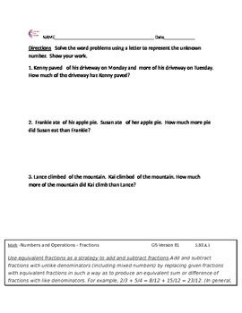5nfa2 Fraction Word Problem Worksheet Common Core Math Worksheets