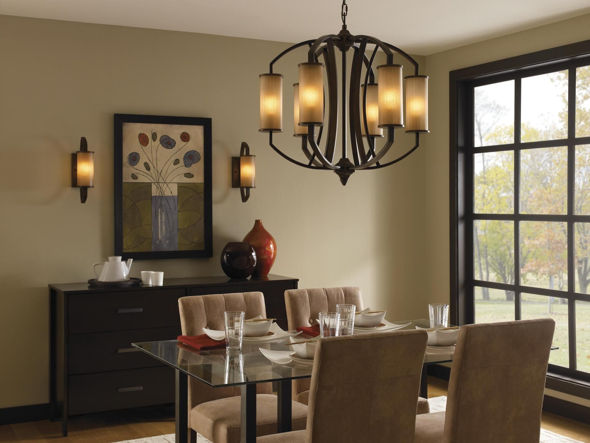 This Murray Feiss Logan Bronze 6 Light Chandelier Features Aged Vellum Glass Combined With A Pecan Tan Dining RoomsRustic