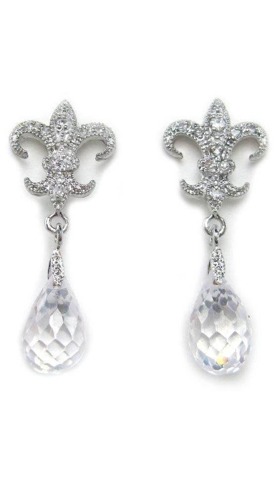 Fleur De Lis Crystal Drop Earrings