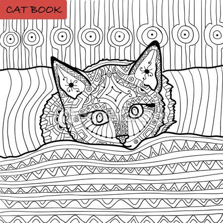 Libro para colorear para adultos - zentangle libro de cat, el gatito ...