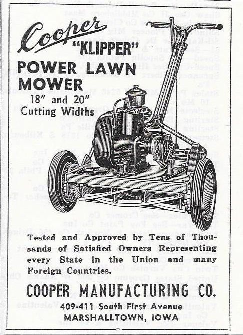 Cooper Klipper Power Lawn Mower ad; Cooper Manufacturing