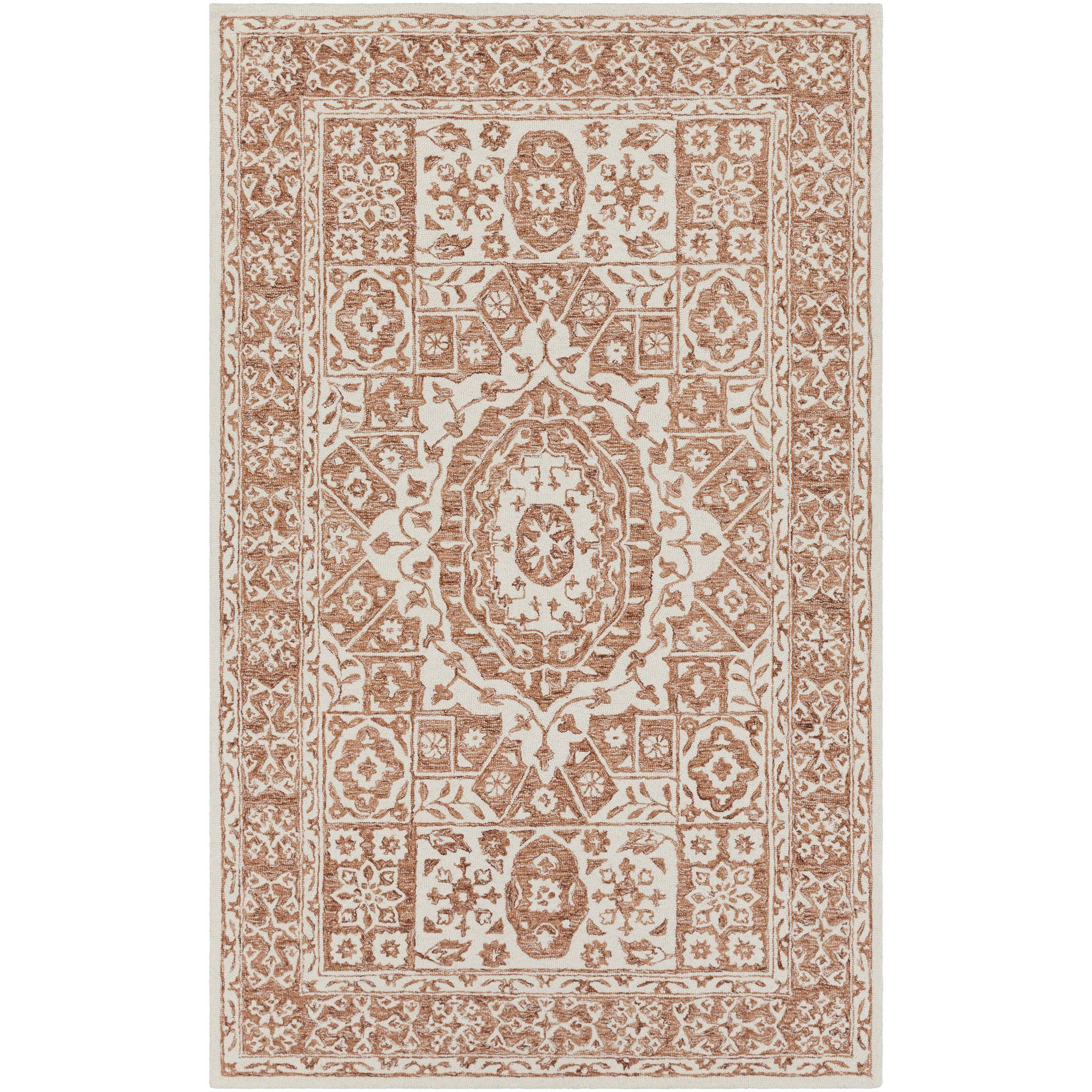Best Heath Hand Hooked Burnt Orange White Area Rug Area Rugs 400 x 300