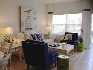 Living Room Design Ideas, Pictures, Remodeling and Decor-love the combination of the light with the cobalt blue!