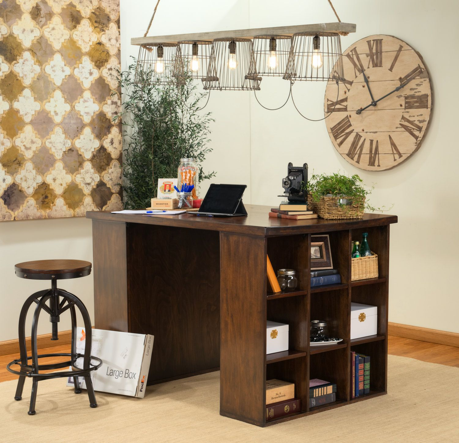Pembroke Project Table With 2 Wooden Bookcase Ends   HOM Furniture    Furniture Stores In Minneapolis