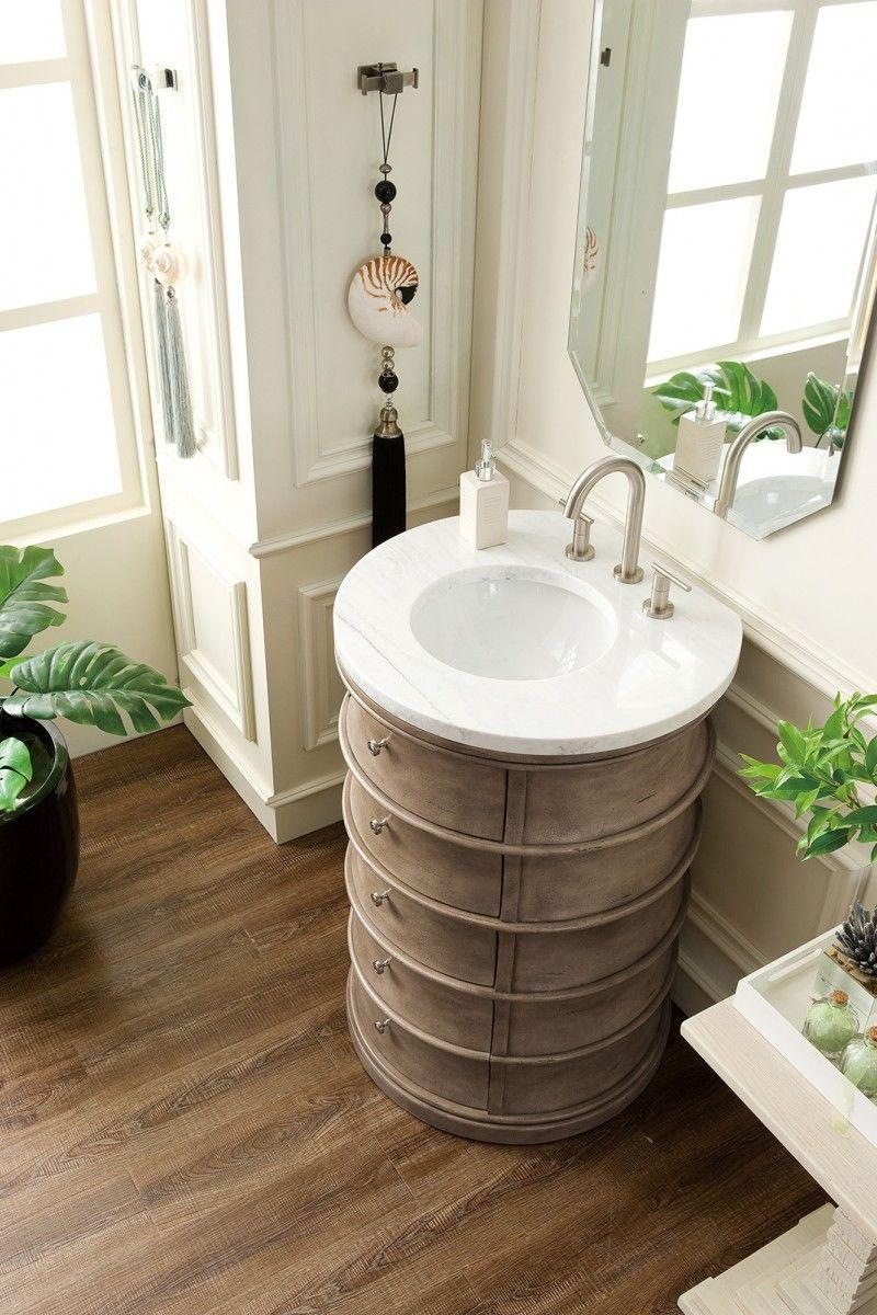 Cairns 24 Single Sink Round Bathroom Vanity Cabinet Empire Gray Finish Modern Style James Martin Vanities Bathroom Vanity Single Bathroom Vanity Vanity