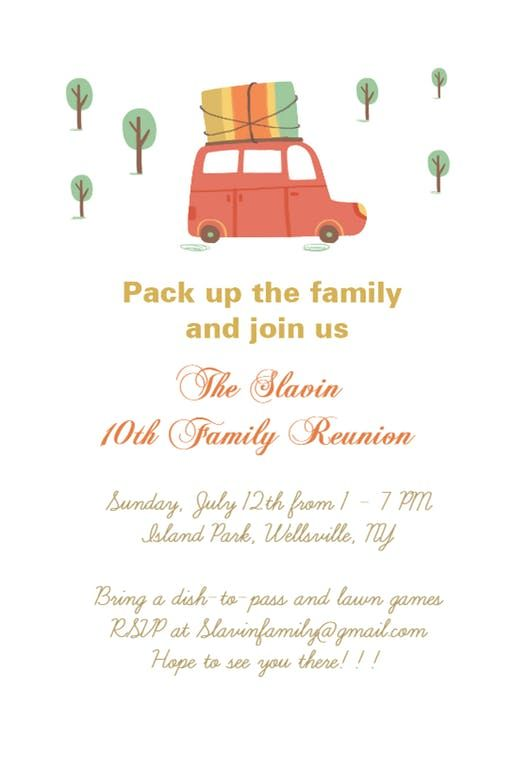 pack up the family free family reunion invitation template