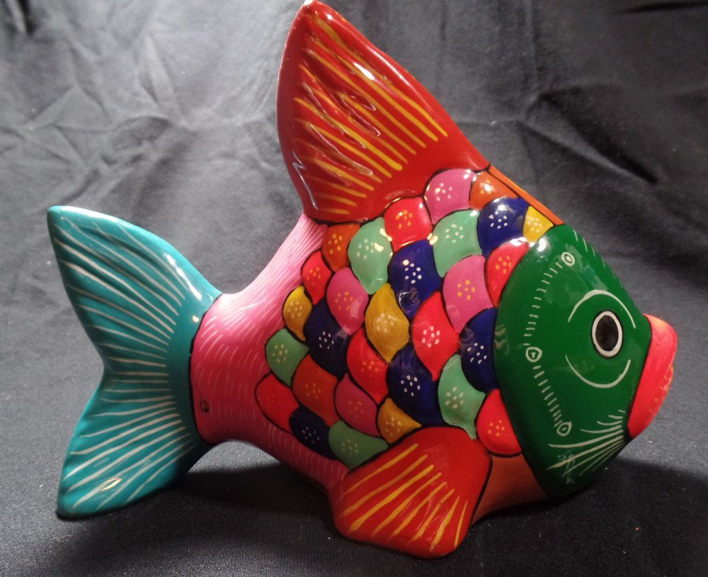 Mexican Clay Folk Art Fish Hand Painted Bright Multi Colored 8 ...
