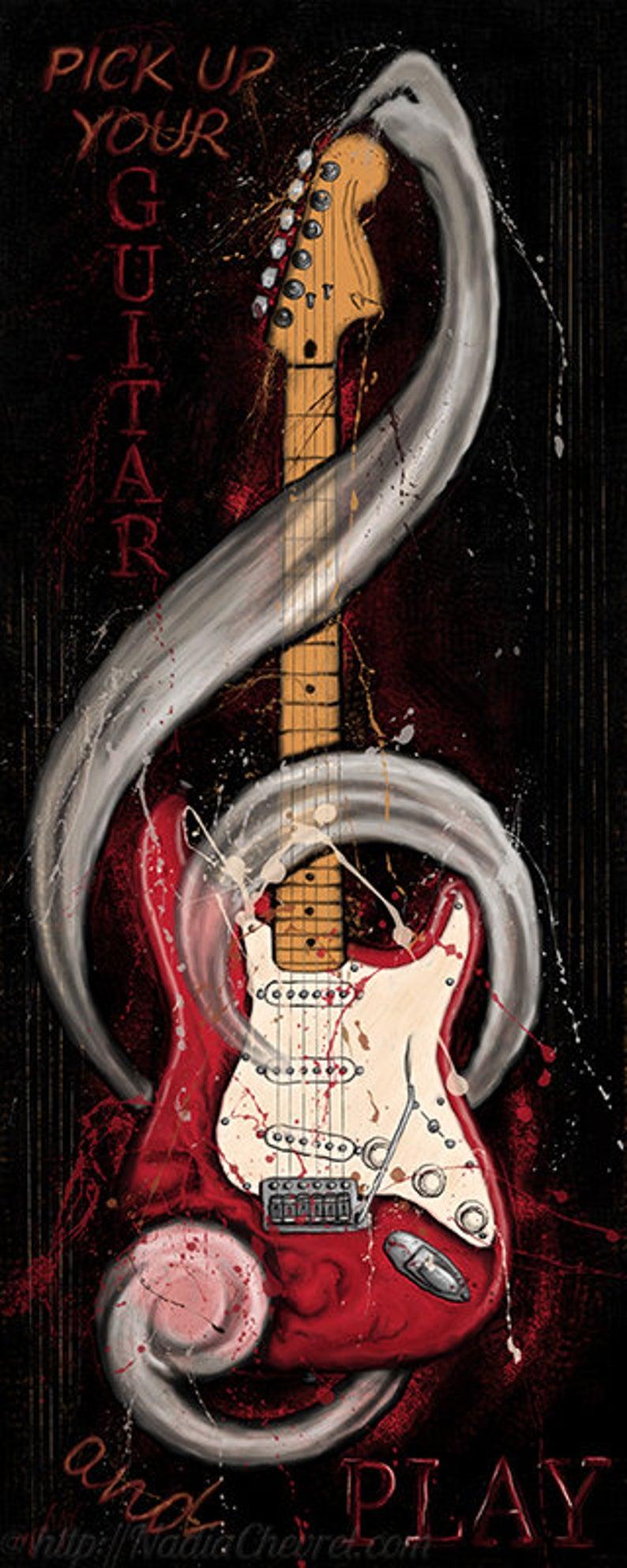 Tableau guitare électrique – Guitare rouge et ivoire – Tableau musique peinture digitale imprimée sur toile Art guitare décoration musique