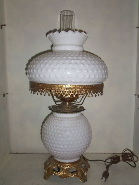 VINTAGE Hobnail White Milk Glass Gone With The Wind 3 Way Hurricane Lamp