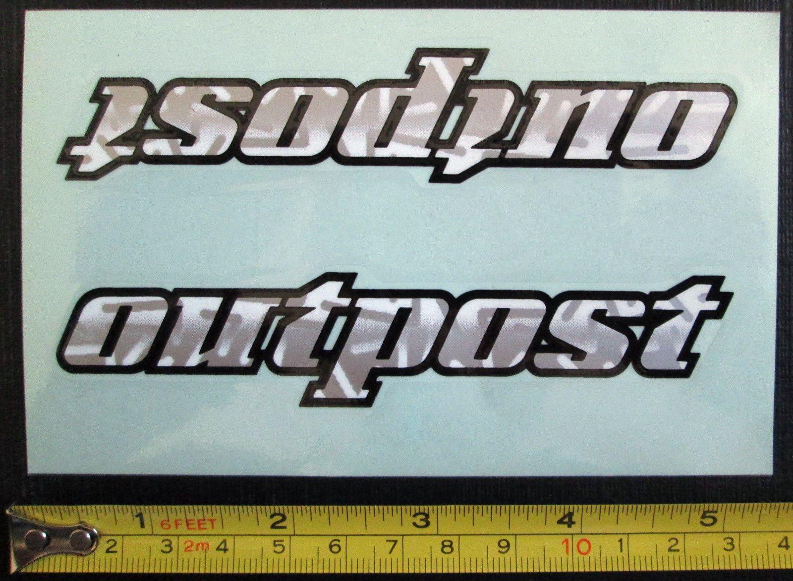 Set of 2 gt outpost sticker decals mountain bike silver gray white black ebay