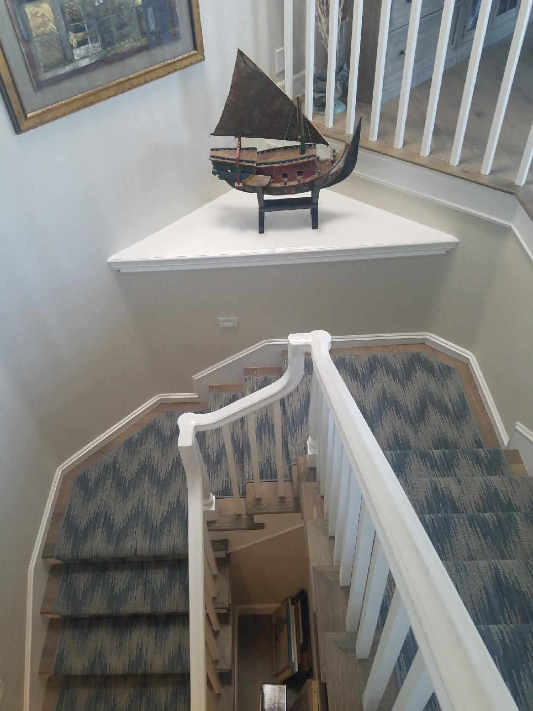 Karastan New Zealand wool carpet fabricated into a stair