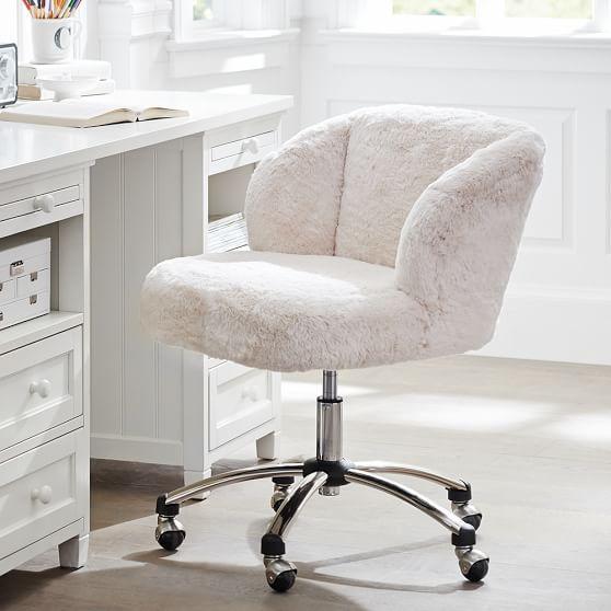 White fluffy desk chair  Logan  Cool desk chairs Tufted