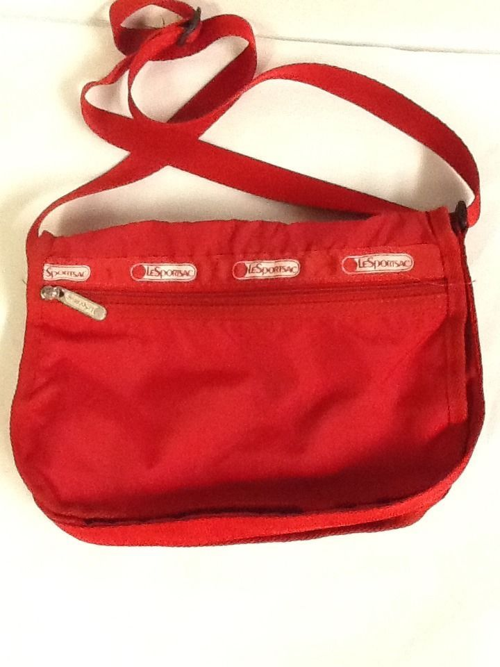 Le Sportsac Shoulder Bag Red Adjule Straps Purse Cross Body Handbag Lesportsac Shoulderbag