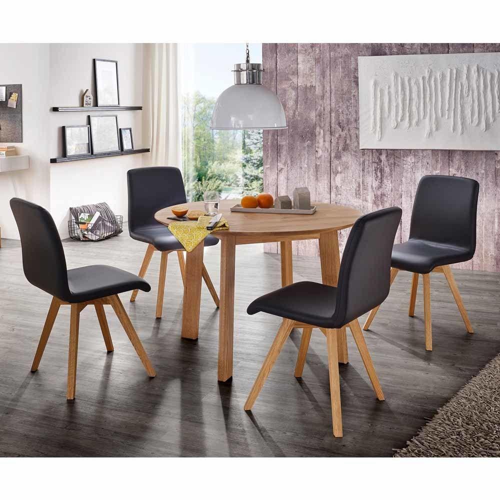 Esstisch mit Stühlen mit rundem Tisch Stühle in Schwarz Kunstleder ...