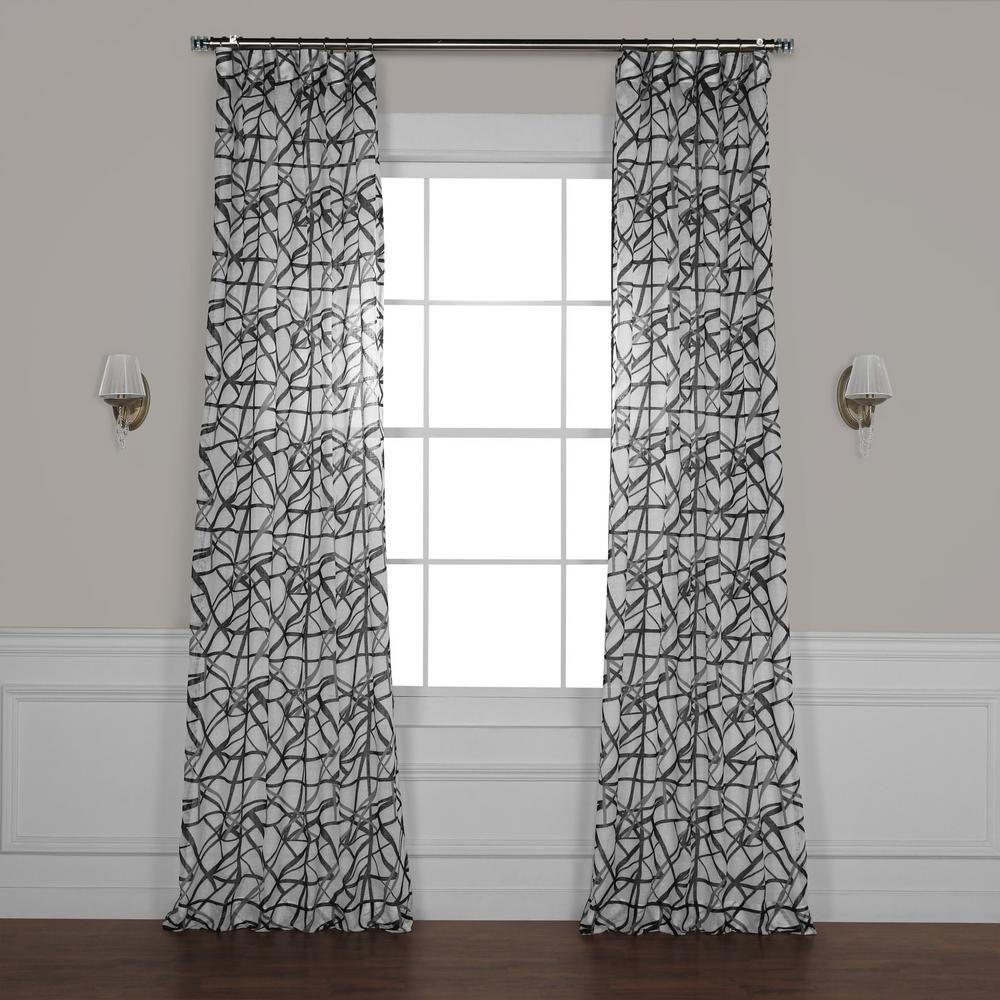 Exclusive Fabrics Furnishings Matrix Black Printed Sheer Curtain