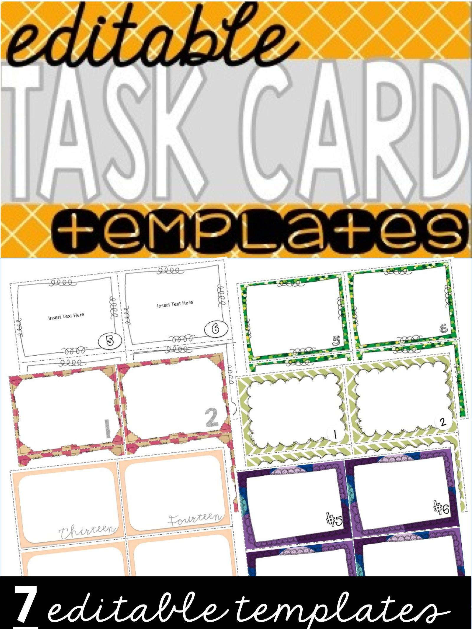 Editable Task Card Templates 7 Sets
