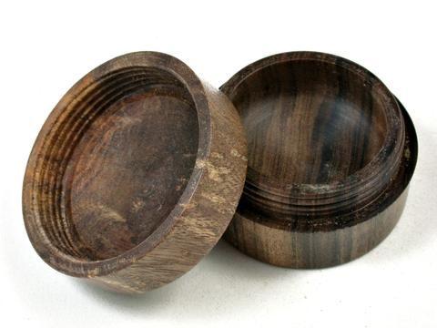 LV-3598  Nagusta  Burl & Black Chacate  Flat Pill Box, Ring Holder, Jewelry Box-SCREW CAP