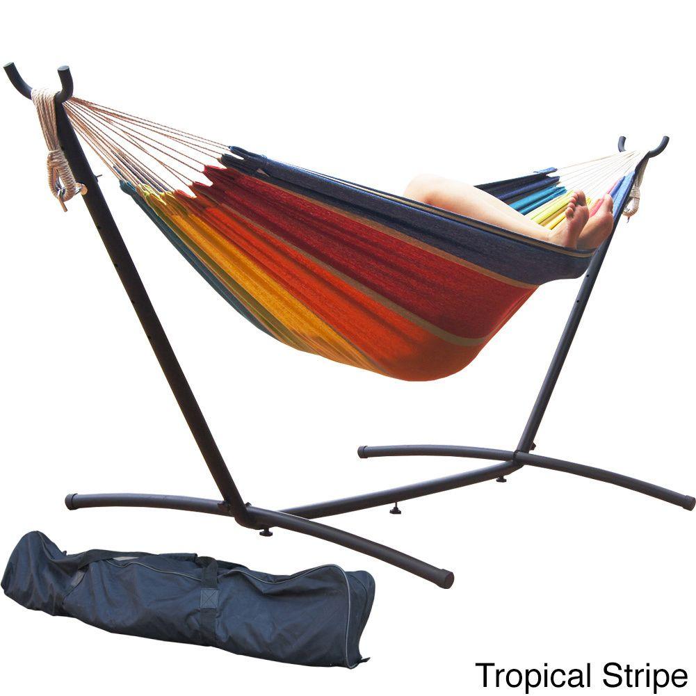 Prime garden foot double hammock and steel hammock stand
