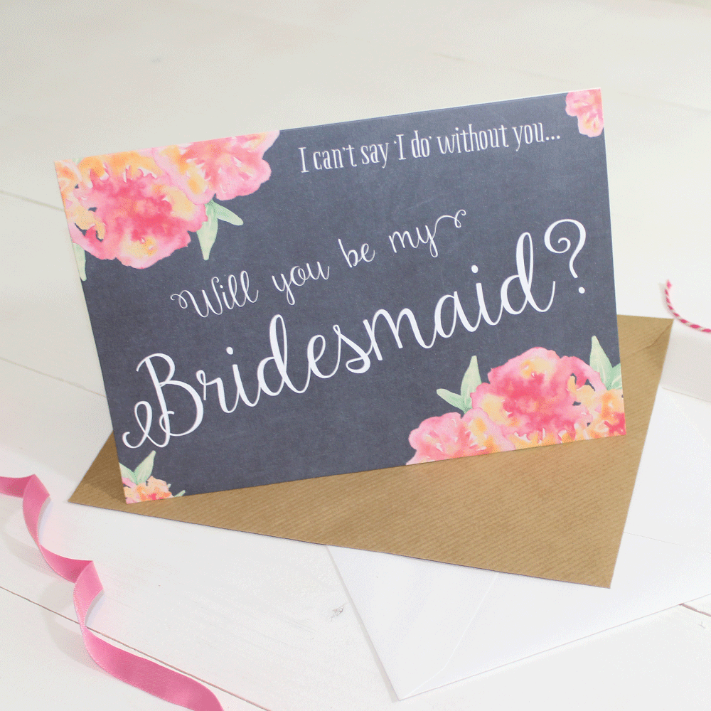Will you be my Bridesmaid Card Watercolour