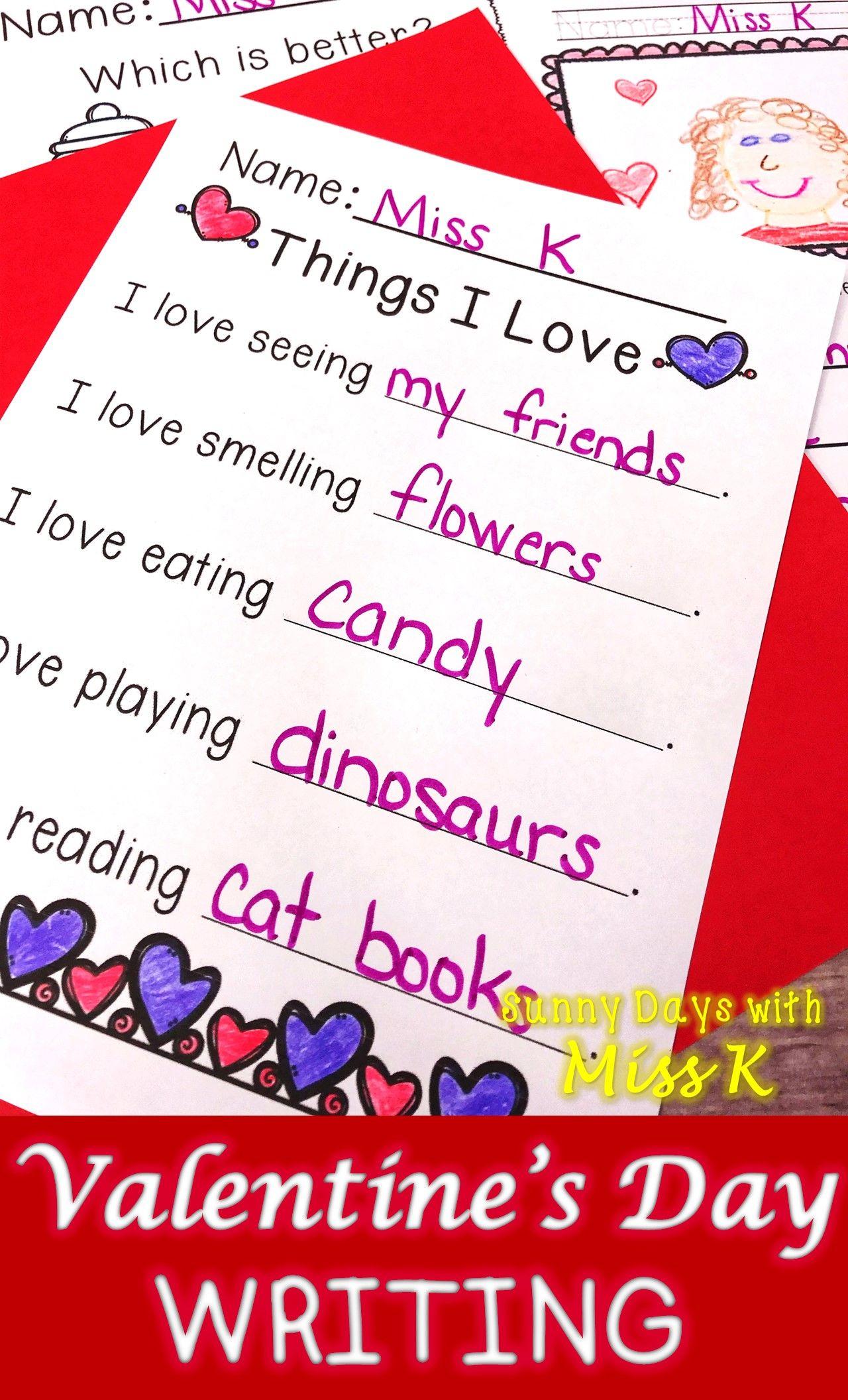 Kindergarten Valentine S Day Writing Valentines Writing Activities Valentines Writing Valentines School Valentine day writing activities for