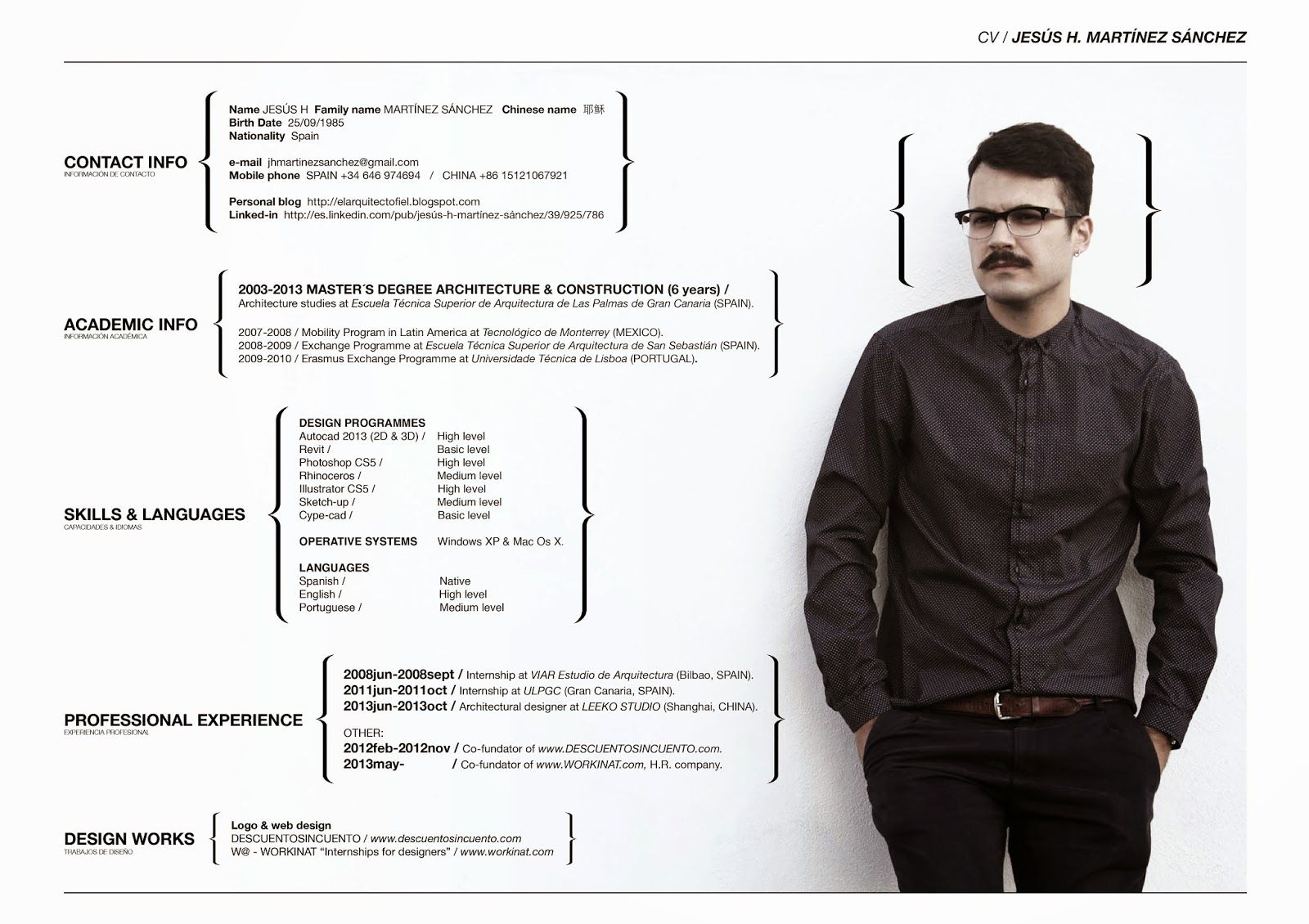 El arquitecto fiel cv curr culum pinterest for Curriculum arquitecto