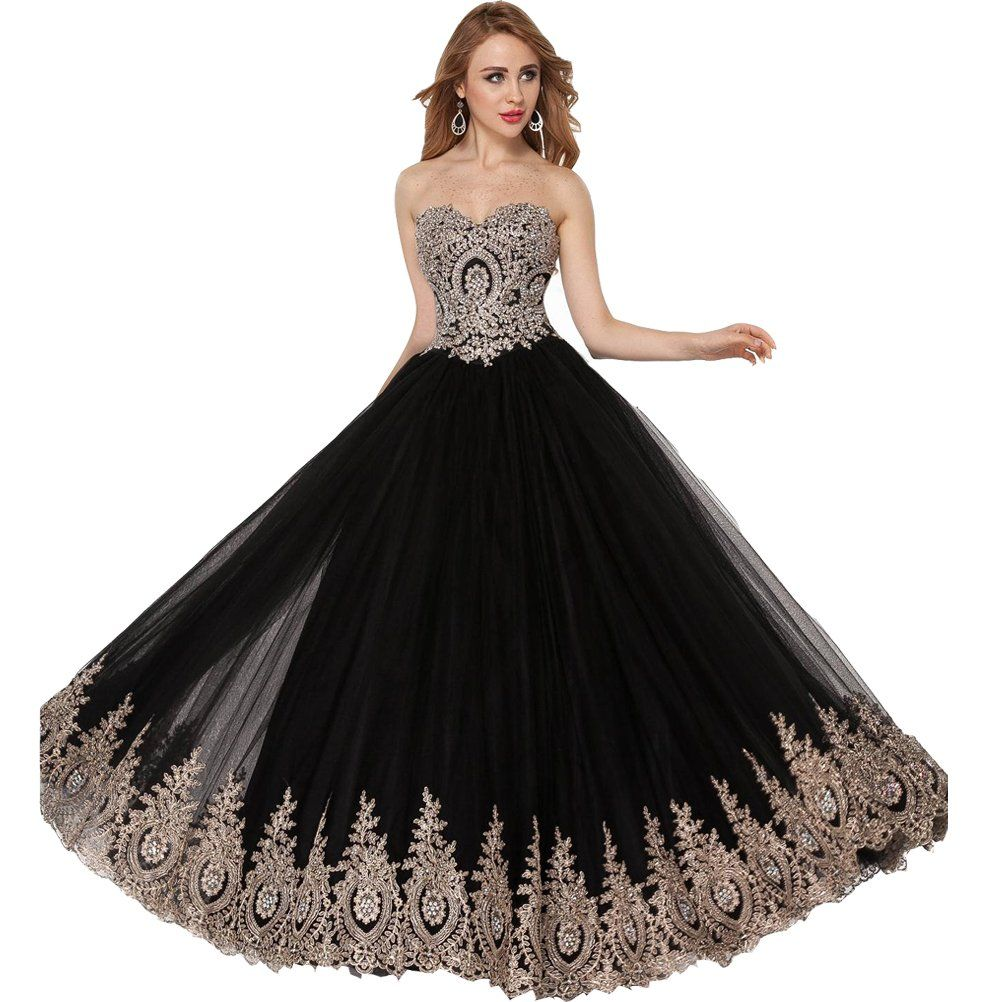 Amazon.com: Lemai Black Tulle Gold Lace Crystals Corset Prom Evening ...