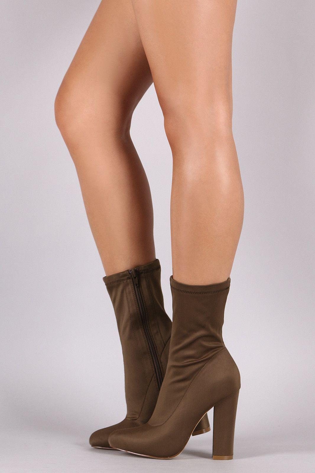 Liliana Elastane Pointy Toe Chunky  Heeled Mid Calf Stivali  Chunky  3d0341