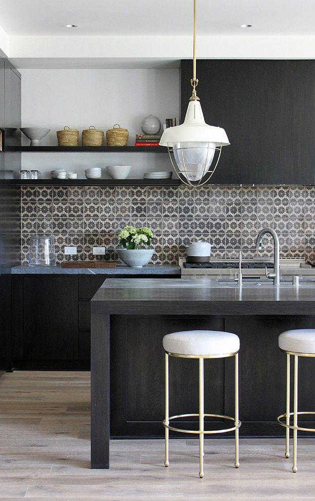 dark wood + shelving + tile backsplash