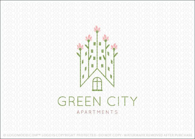 Green City Apartment Homes is part of Cute home Logo - Cute, modern and simple design of rows of flowers that are designed to create the imprecation of tall city builders …