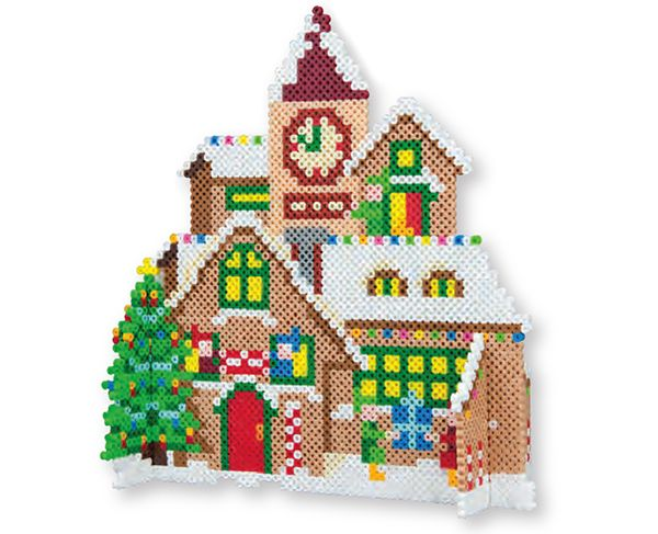 3d santa s workshop christmas perler project pattern b gelperlen weihnachten pinterest. Black Bedroom Furniture Sets. Home Design Ideas