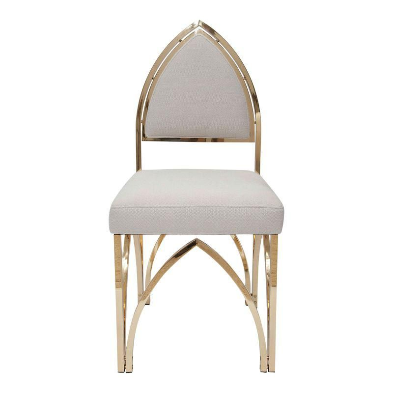 Terrific Set Of Four Italian Polished Brass Gothic Inspired Chairs Beatyapartments Chair Design Images Beatyapartmentscom