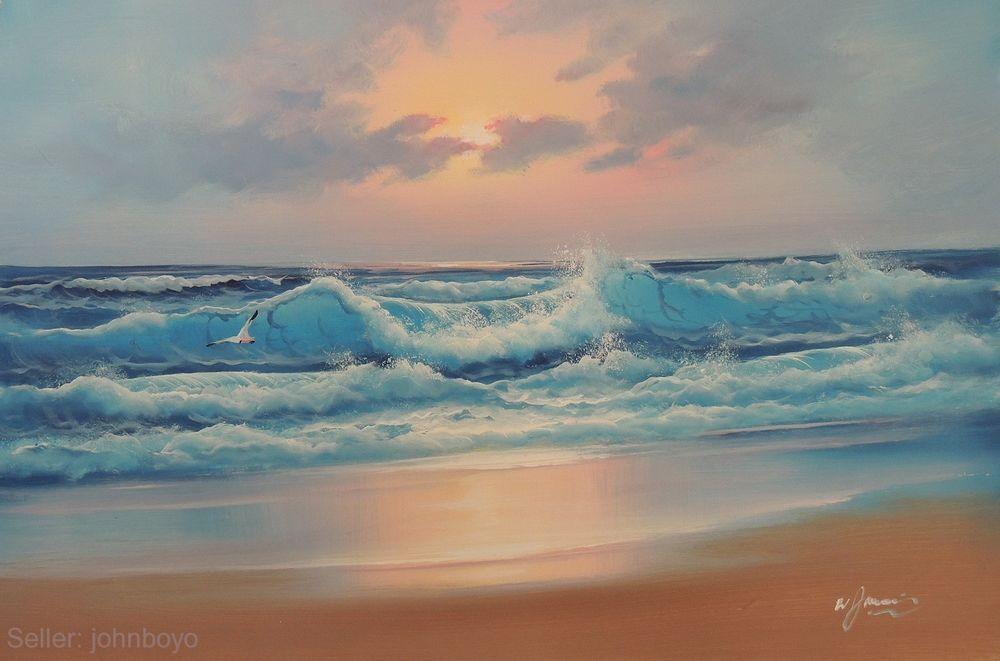 Caribbean Sunset Sea Surf Waves Beach Blue Ocean Pink Gray 24x36 Oil Painting Realism Sunset Surf Sunset Sea Sunrise Landscape