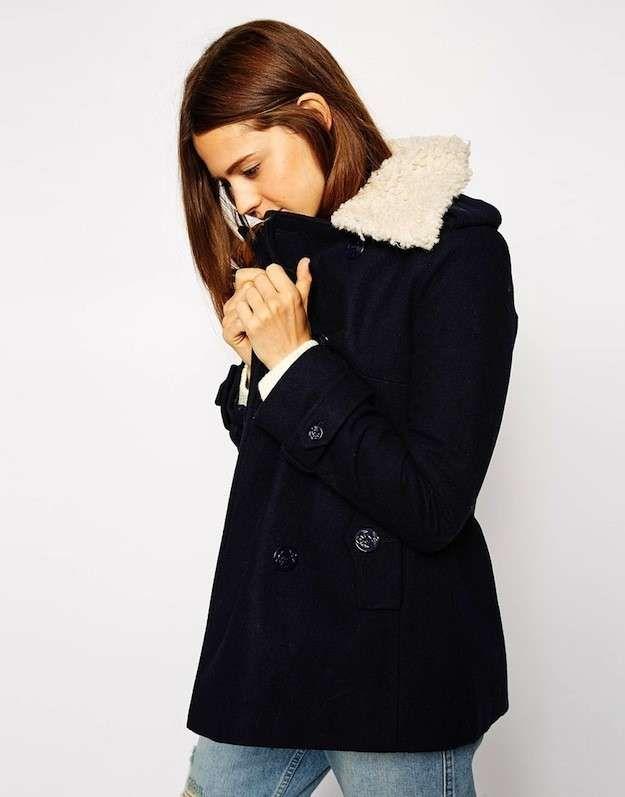 Abrigos de borrego para el invierno 2015: fotos de los modelos - Chaqueta cuello borrego blanco Asos